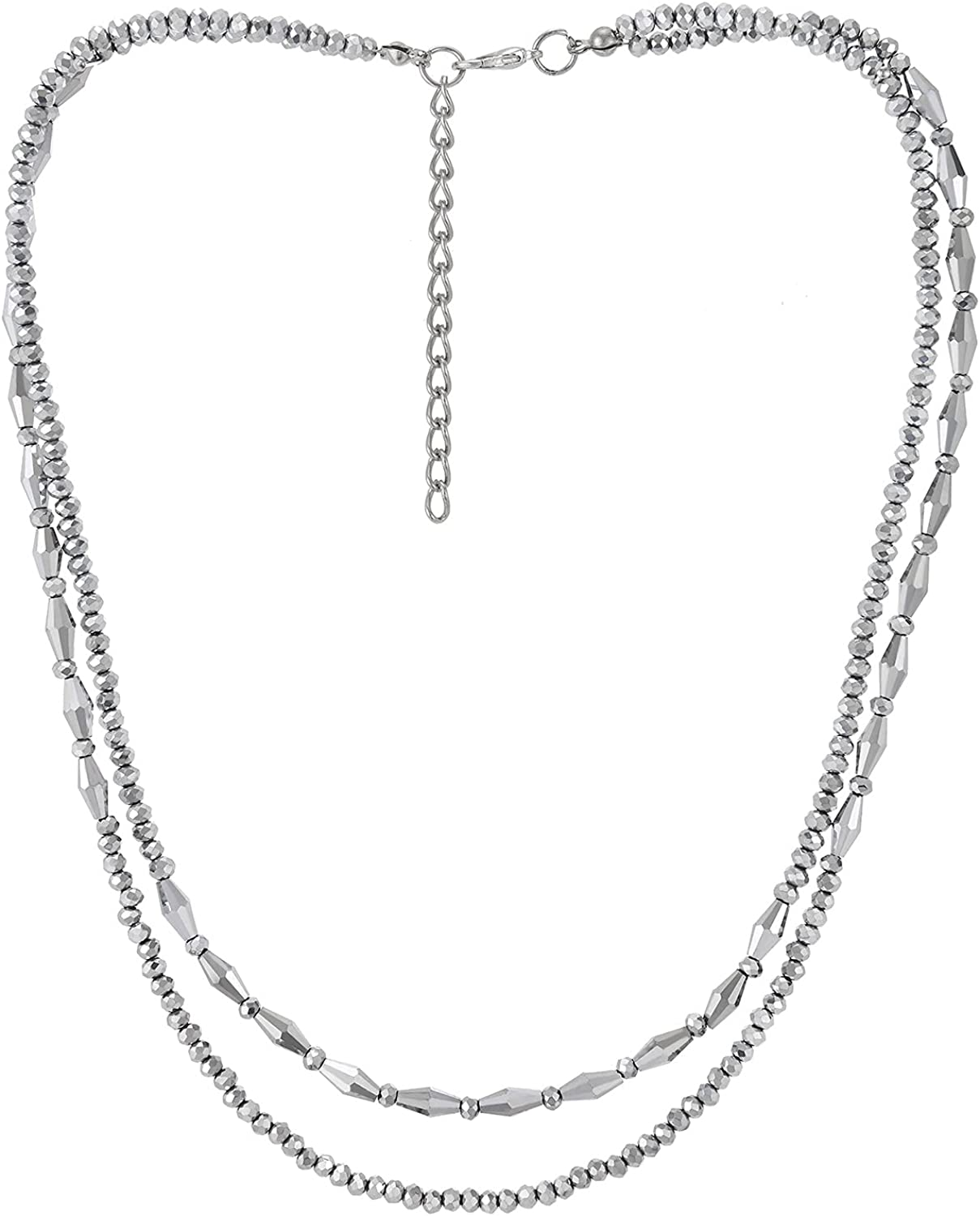 Grey Statement Choker Collar Necklace Two-Strand Faceted Rhinestones Beads Chains Pendant, Unique