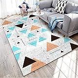 WQ-BBB El Juego Diseño geométrico Blanco Alfombra Dormitorio sin Pelo Moteado Azul marrón Negro alfombraspara Mesa Salon Pasillo jarapas 200X230cm