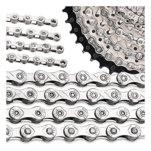 DSMGLRBGZ Cadena Bicicleta (Engranajes del 9/10/11/12) Acero, Baja Fricción, sin Deslizamiento, para Carretera, montaña, Bicicleta (116 Eslabones),9s