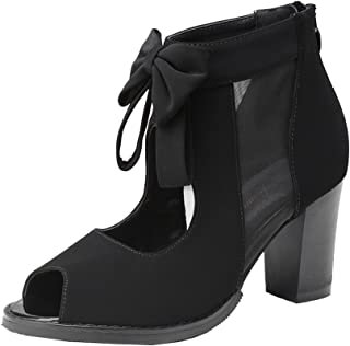 277fd8d1b188 getmorebeauty Womens Peep Toe Cut Out Bows Vintage Chunky Heel Ankle Boots