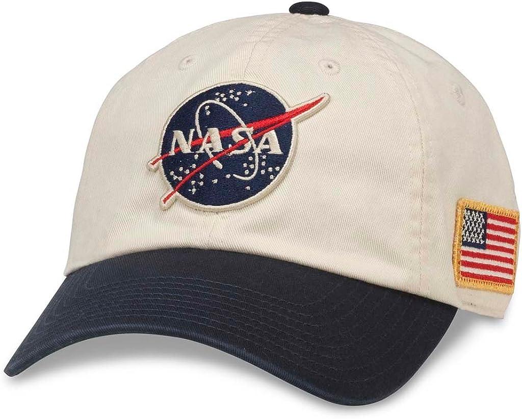 AMERICAN NEEDLE NASA United Slouch Baseball Dad Buckle Strap Hat (43570A-NASA) Ivory/Navy
