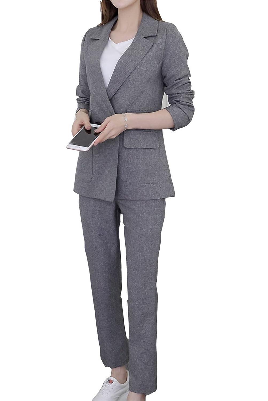 [美しいです] スーツ 洋服 レディース セット 春 夏 秋 冬 二点セット コート ズボン ビジネス ゆったり