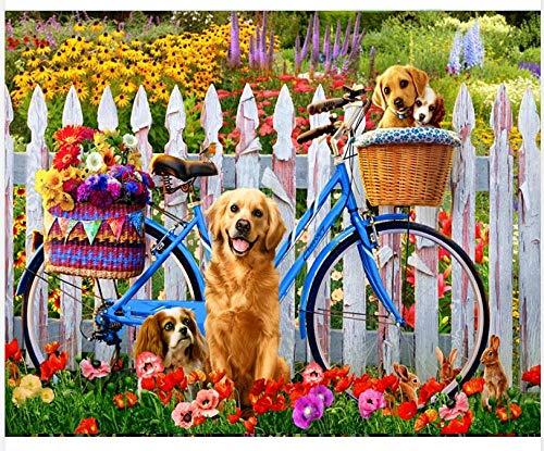 Digitale Schilderen door Getallen Kits Witte Hek Leuke Hond Olie Schilderen op Canvas Muurdecoratie voor Home Gift voor Nieuwe Accommodatie Bruiloft voor Volwassenen Kinderen Beginners