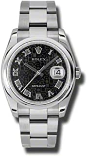 Rolex Oyster Perpetual Datejust 36mm Stainless Steel Case, Domed Bezel, Black Jubilee Dial, Roman Numeral And Oyster Bracelet.