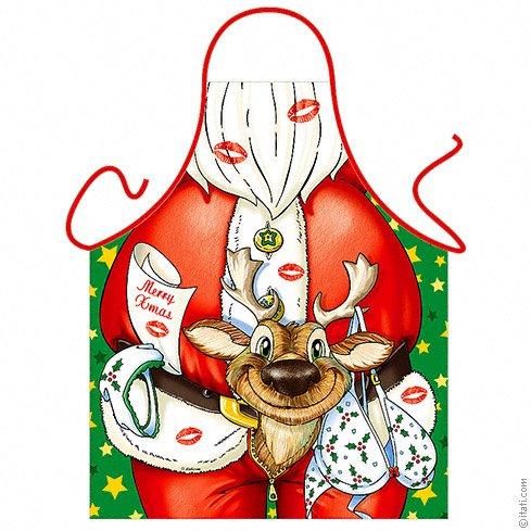 Kerstman met rendier nieuwigheid schort