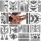 12 fogli Tatuaggio Temporaneo neri impermeabile Tatuaggio, Temporanei Rimovibili Tatuaggi, per adulti uomo donna (Black)