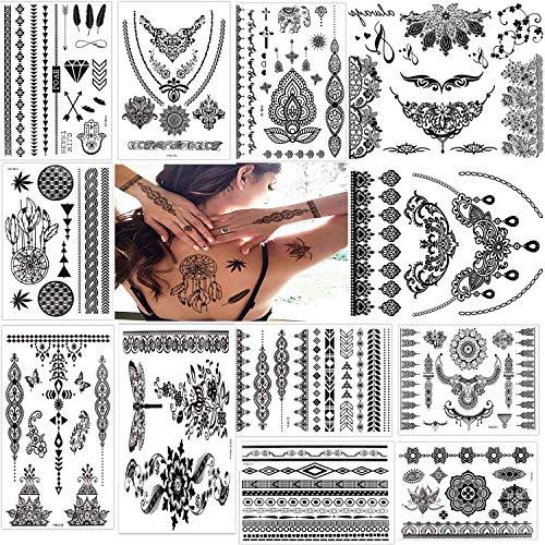 Tattoo Aufkleber schwarz Tattoo Körperkunst Kleine Bögen Tattoo Aufkleber Fake Arm Tattoos Sticker für männer Frauen (12 Blätter)