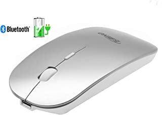 Tsmine Bluetooth Mouse Rechargeable - Upgraded Compact Silent Bluetooth Wireless Mice for MacBook Pro/Air, iMac, Computer, PC, Laptop,Windows/Android Tablet, DPI Adjustable - Silver