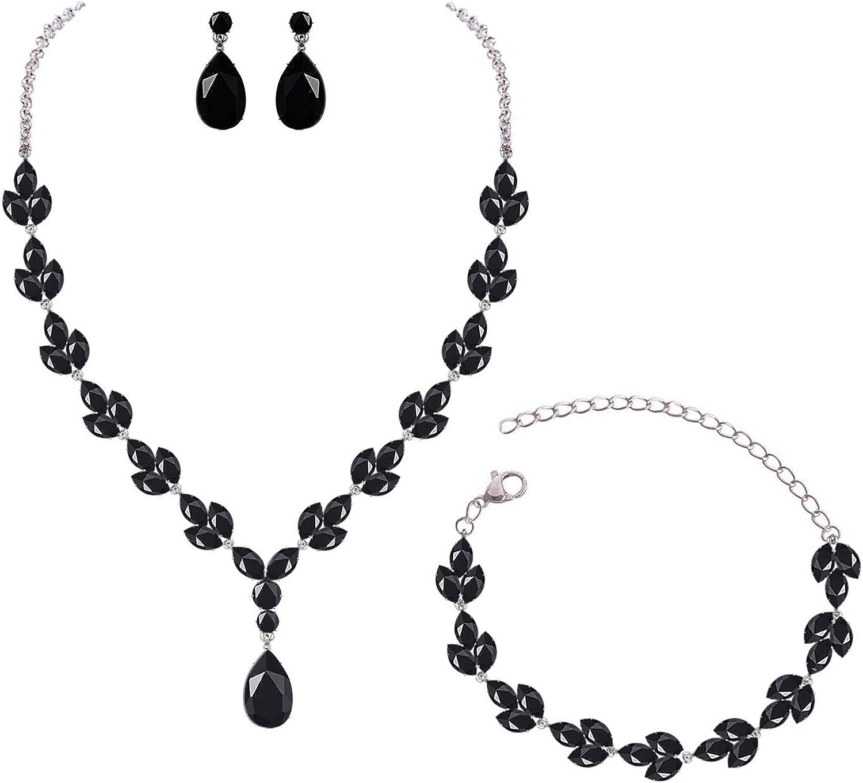 YSOUL CZ Zirconia Necklace Earrings Bracelet Jewelry Sets For Prom Wedding Bridal Bridesmaid