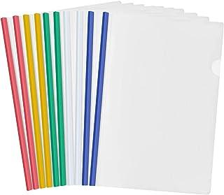 10 Feuilles Plastique A4 Dossier Coulissante, Clair Chemise de Couvertures de Rapports avec Reliure Barre Coulissante pour...