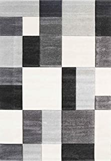 Home Culture Focus Modern Squares Grey Rug for Bedroom, Living Room, High Traffic Areas of Home and Office (160x230)