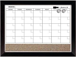 "Quartet Combination Magnetic Whiteboard Calendar & Corkboard, 17"" x 23"" Combo White Board & Cork Board, Wood Finish Frame ..."