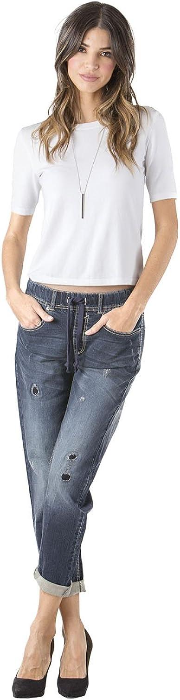 Standards & Practices Women's Stretch Denim Destroyed Drawstring Jogger Pant