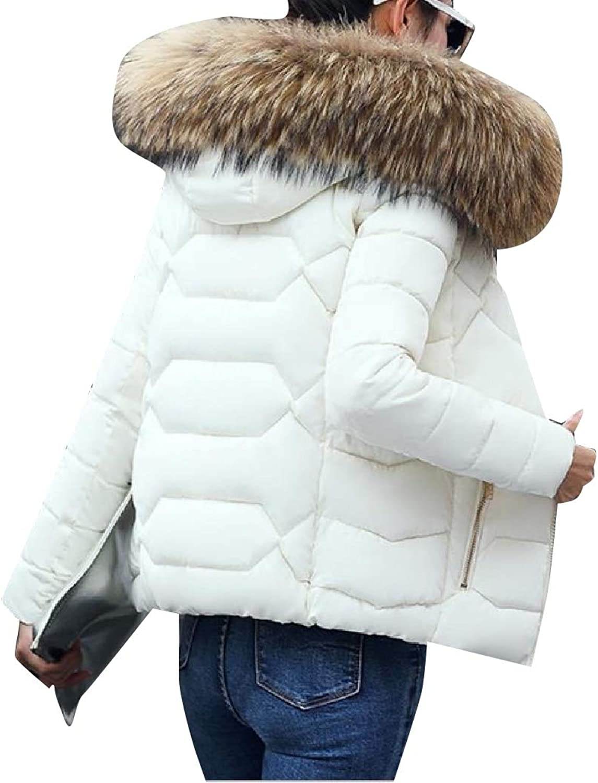 Abetteric Women Warm Short Thickened Hoode Cotton Plus Size Coat Jacket