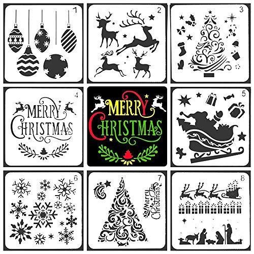 "Christmas DIY Painting Drawing Stencils Templates Santa Claus Christmas Tree Snowflakes Bulbs Reindeers for Art Drawing Painting Spraying Xmas DIY Christmas Decoration 5""x5"",8 Pcs"