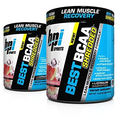 BPI Sports Best BCAA Shredded (2 Pack) Caffeine Free Thermogenic Recovery Formula for Lean Muscle Growth (25 Servings)