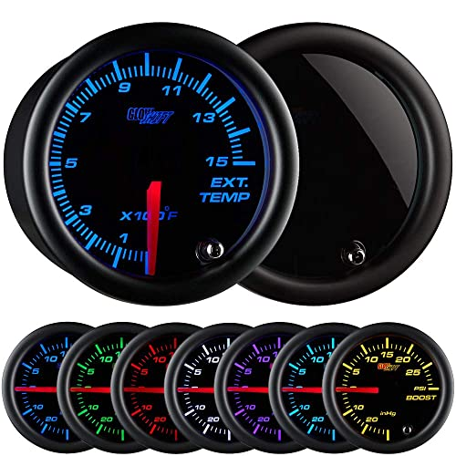 "GlowShift Tinted 7 Color 1500 F Pyrometer Exhaust Gas Temperature EGT Gauge Kit - Includes Type K Probe - Black Dial - Smoked Lens - for Diesel Trucks - 2-1/16"" 52mm"
