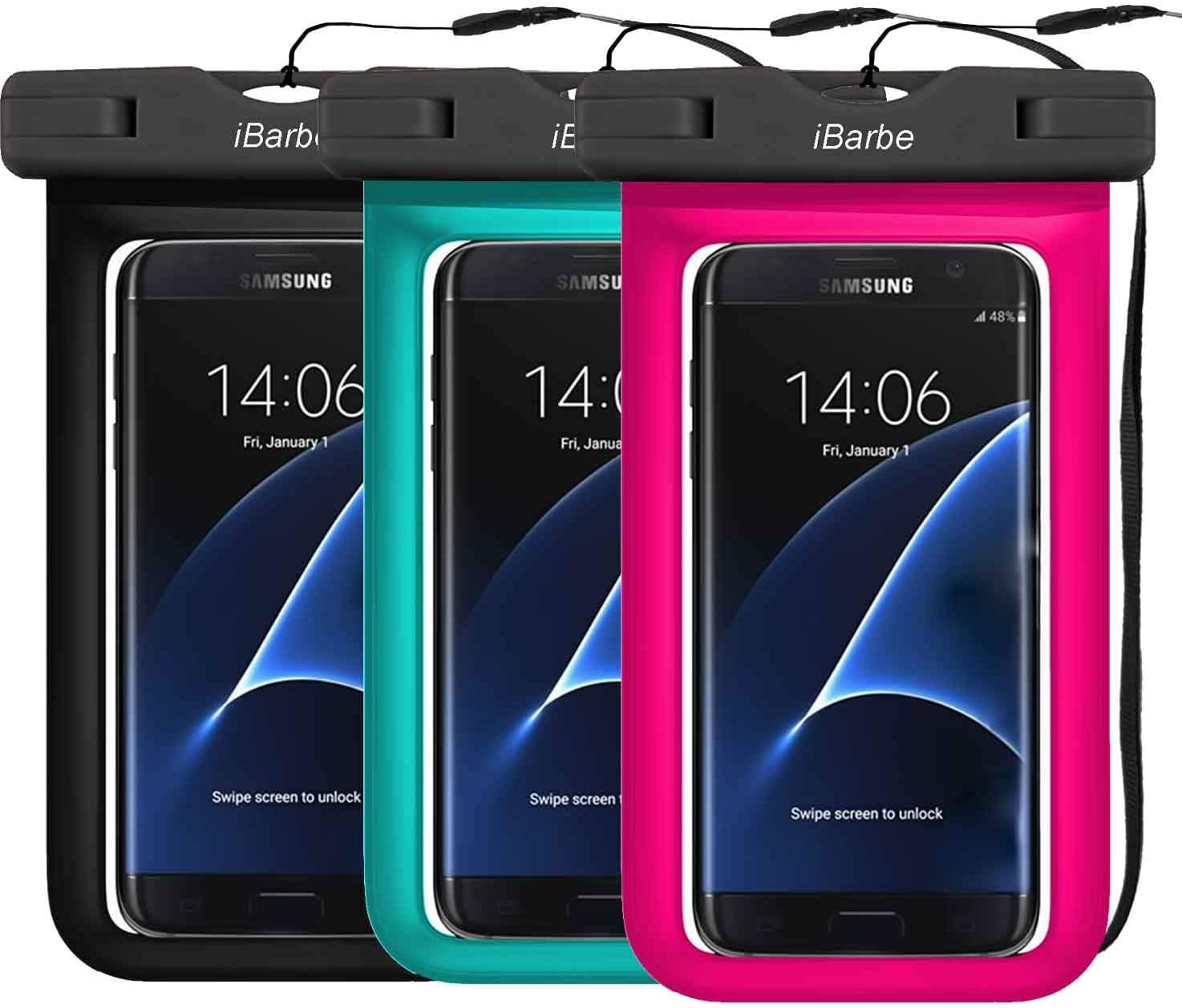 3 Pack IPX8 Universal Waterproof Case Compatible with Phone 11 PRO MAX X XS MAX XR 8,7 6/6S Plus, 6S 5 5S SE 5C,Galaxy S9,Smartphone Diagonal to 6.3