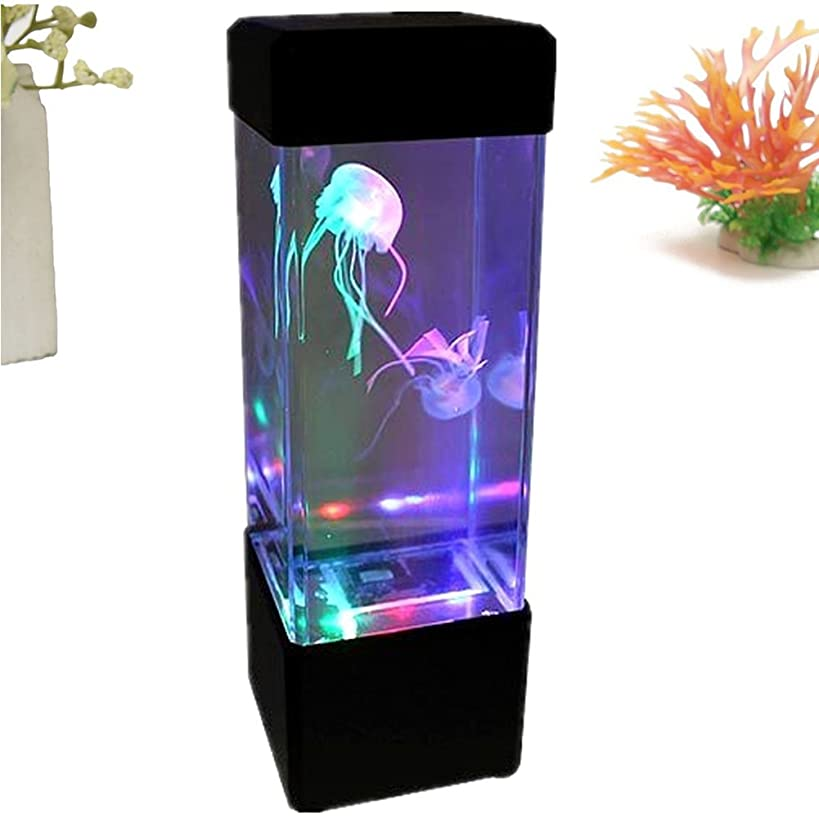 GEZICHTA Creative Colorful LED Jellyfish Tank, LED Fantasy Jellyfish Lamp Electric Jellyfish Tank Aquarium Color Changing LED Lights Relaxing Mood Lamp Light by Play, for Festival Home Decor