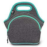 """Neoprene Lunch Bag for Women Men & Kids (M Darkgrey/Lagoon 12"""") 