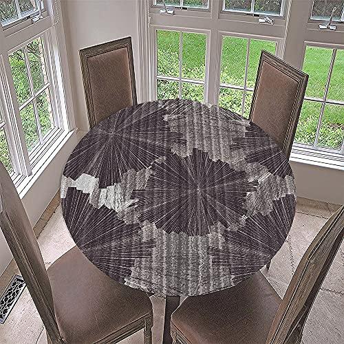 Impermeable Redondo Mantel con Borde Elástico, Fansu 3D Sale de Impresión Mantel de Mesa Elástica Ajustada Cubierta de Mesa para Picnic Comedor Cocina Restaurante Cena (Hoja Loto,Diámetro 200cm)