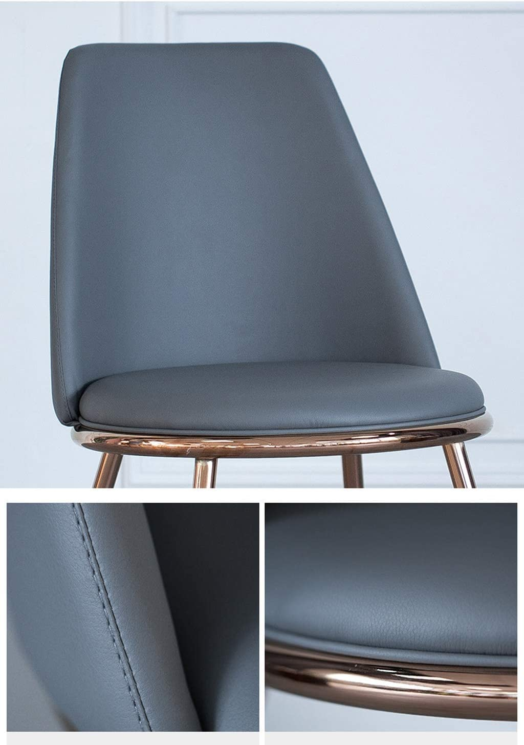 CAIS Chaise simple atmosphère ménage fauteuil, chaise de salle à manger salon chaise longue fer Art Pu Dinette Creative Bar chaise 45 * 45 * 75Cm siège antidérapant,Bleu Rose