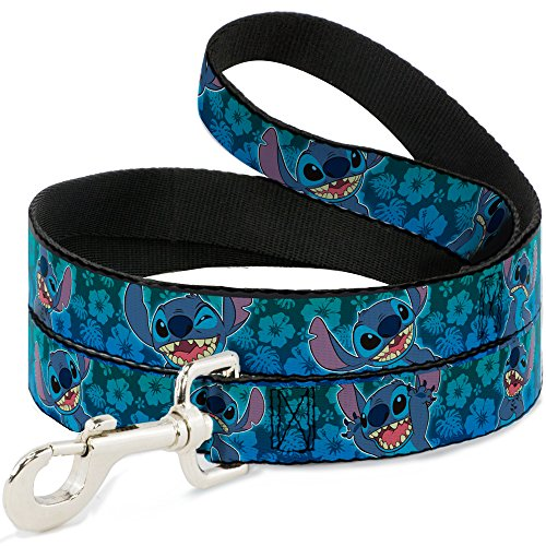 Buckle-Down Dog Leash Stitch Expressions Hibiscus Collage Green Blue Fade 6 Feet Long 1.5 Inch Wide