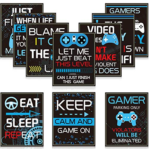 10 Video Game Poster Sign Gamer Art Print Boy Game on Birthday Party Wall Decoration, Inspirational...