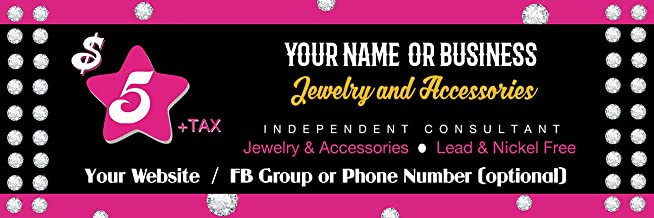 and Facebook Live Event. Jewelry Five Bucks Fun Fashion Banner -30x72 9 oz. Wrinkle Free Fabric Not Vinyl Banner Sign for Your Paparazzi Boutique Popup Party