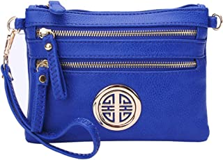 Solene Women's Detachable Wristlet Crossbody Bag With Multi Zipper Pockets