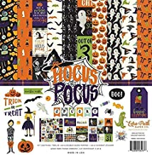 Echo Park - Hocus Pocus Halloween 12x12 Scrapbooking Kit - Item HO157016TM - Copyright 2018 - Features Pumpkins, Ghosts, Spiders, Skeletons, Candy, Witch Hats, Costumes, Bats, and Monsters