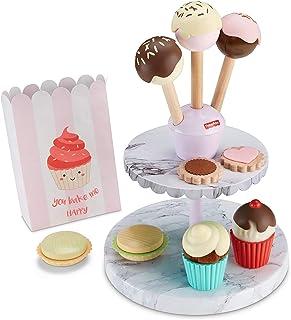 Fisher-Price Cake Pop Shop - Juego de 24 piezas de postre y panadería con madera real para niños en edad preescolar de 3 años y más, Juego de panadería de postre, Multicolor
