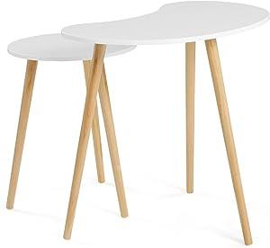 SONGMICS Tables gigognes, Lot de 2, Tables Basses superposables, Table d'appoint, Style scandinave, Pieds en Bois de pin, Couleur chêne Clair et Blanc LET06WN