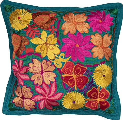 El Paso Designs Colorful Mexican Flowers Handmade Embroidery Pillow Cover in Different Vivid product image