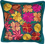 El Paso Designs Colorful Mexican Flowers Handmade Embroidery Pillow Cover in Different Vivid Colors (Teal)