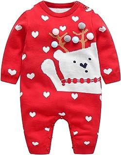 Minizone Baby Strampler Pullover Weihnachten Overall Langarm Winter Jumpsuit Netter Bär Gestrickte Outfits für Jungen Mädchen 0-18 Monate