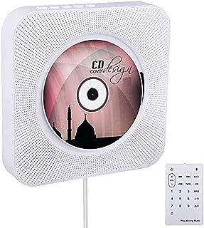 Reproductor de CD portátil de 4 colores para montaje en pared con control remoto Bluetooth, radio FM, altavoz HiFi con USB...