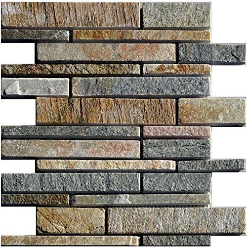 1rete Natura del mosaico di pietra quarzite Beige Wall