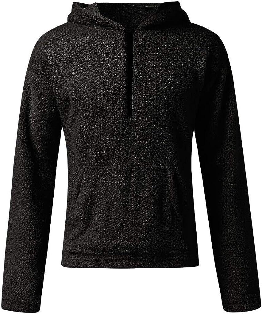 Men Hooded Sweater Fuzzy Sherpa Fleece 1/4 Zip Hip-hop Pullover Hoodies Winter Coat with Pockets