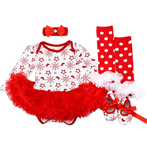 Baby Girls My 1st Christmas Costume Romper Dress with Headband Leg Warmers  Shoes Santa Claus Polka ff4ab31b8147