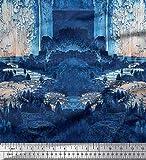 Soimoi Azul saten de seda Tela la casa y el árbol escena tela estampada de...