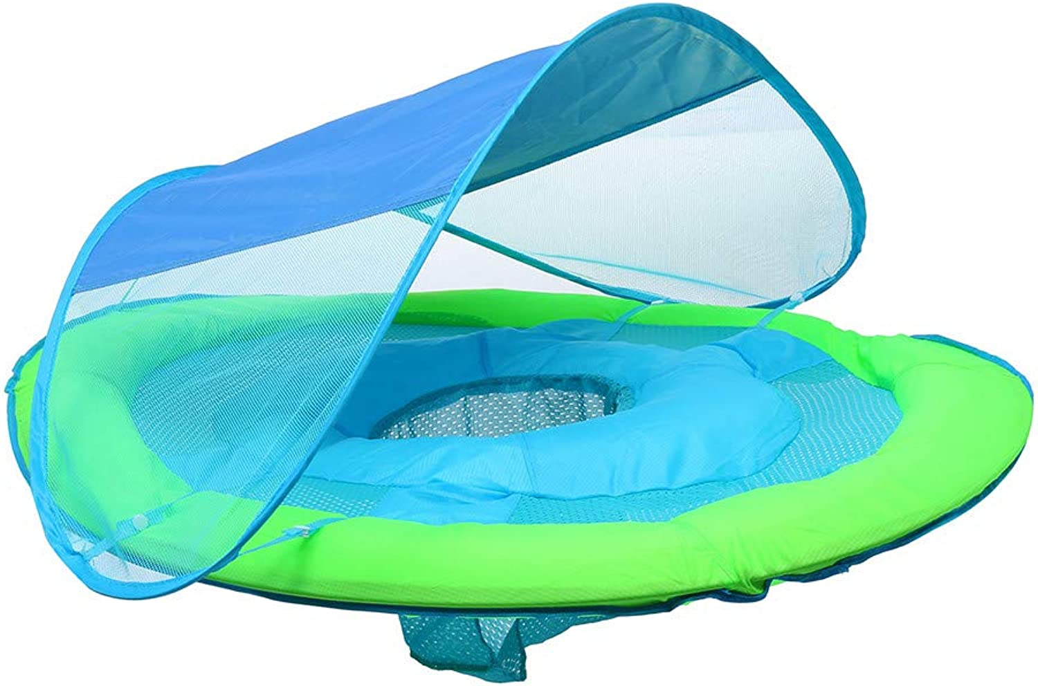 Chezaa Inflatable Fun Baby Boat, Swimming Ring, Splash and Play, Safety Seat, Extra-Wide Inflatable Pool Float, UPF 50 Retractable Canopy for Kids Aged 9-36 Months, bluee (bluee)