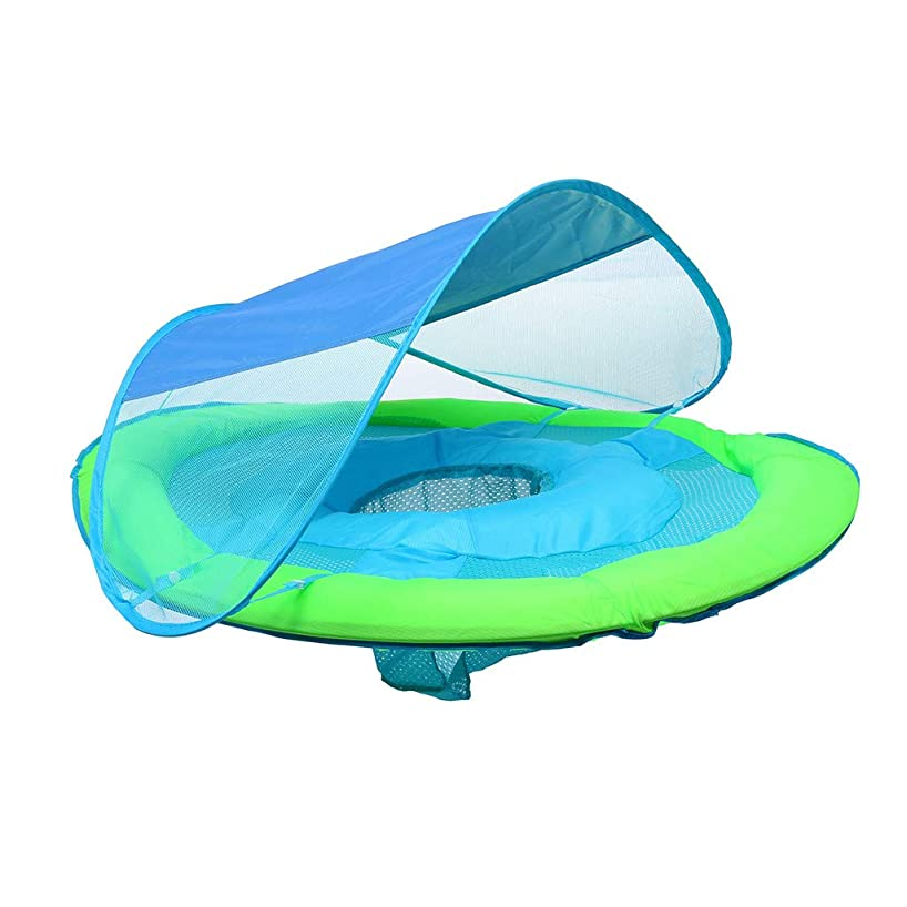 lUKSY US-Direct Swimming Ring, Baby Infant Swimming Pool Float with Canopy, Inflatable Baby Boat Retractable&Stowable Sunshade for Kids Aged 9-36 Months