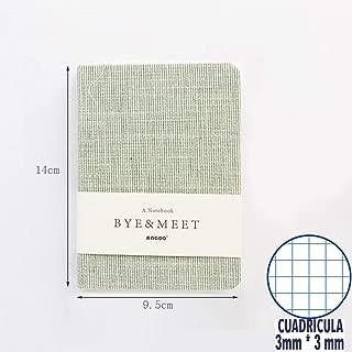 Shager Tapa Dura cuadriculados Cuadernos, Papel de 100g, Bonitos Viaje Cuaderno cuadriculados 3*3 mm (Verde)
