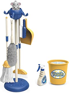 AOKESI Kids Cleaning Set Housekeeping Toy - 8 PCS Elephant Kid Size Cleaning Supplies Mop Broom and Dustpan Set Pretend Pl...