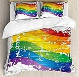 Juego de sábanas nórdicas Vintage Rainbow de 3 piezas Juego de fundas nórdicas, bandera del orgullo gay de estilo grunge Rayas arcoíris antiguas temáticas de la comunidad LGBT, juego de fundas de edre