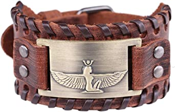 LIKGREAT Egyptian Goddess Isis Talisman for Life and Fertility Brown Leather Bracelet for Men