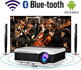 HD Movie Projector WiFi Bluetooth LED Home Theater Outdoor 4600 Lumens Android Wireless Video Projector WXGA 1080P Support...