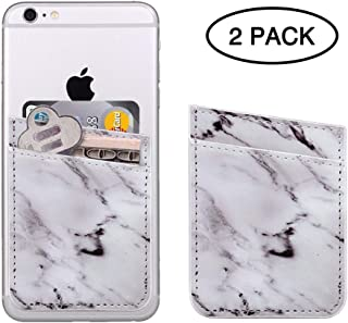 Two Cell Phone Stick On Wallet, ClarksZone Marble Credit Card Holder Phone Pocket PU Leather Pouch 3M Adhesive Sticker on iPhone Samsung Galaxy Android Smartphones, White