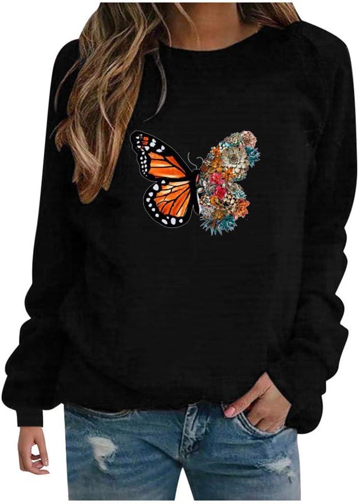 Eoailr Sweatshirts for Wholesale Women OFFicial Women's Slee Casual Long Butterfly